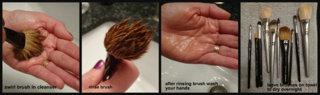 Make-Up Brush Cleaning Step 4-8 collage
