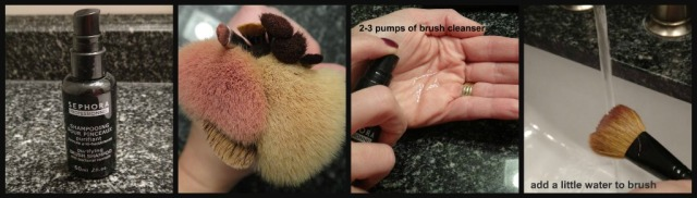 Make-Up Brush Cleaning Step1-4 collage